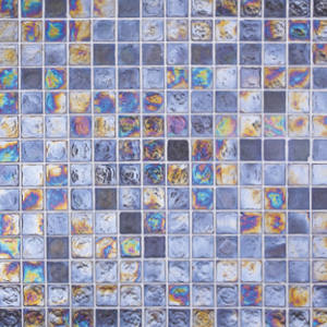 Blue pool mosaic tiles