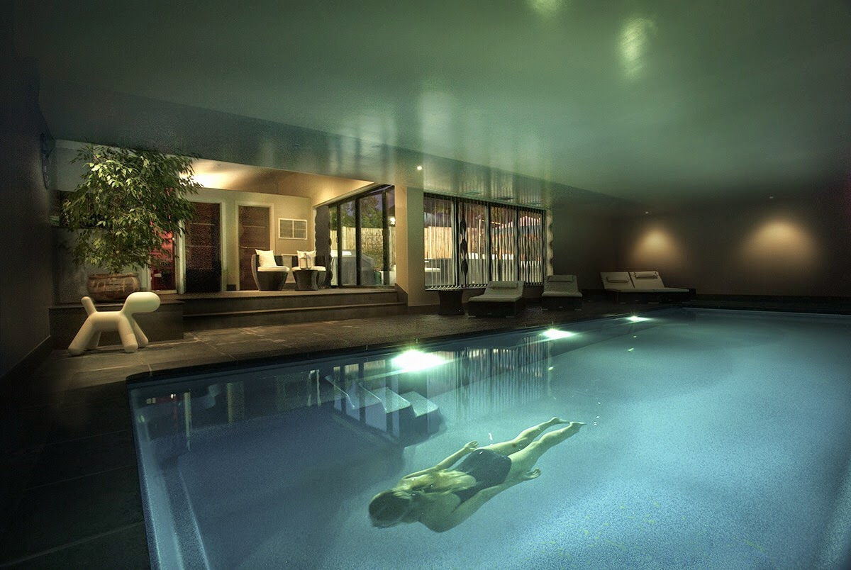 Basement Pool with Swimmer