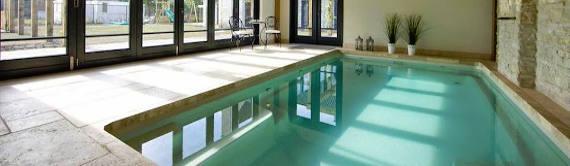 Indoor Pool with Floor to Ceiling Windows
