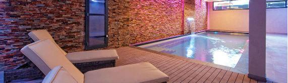 Indoor Pool with Pink Glow