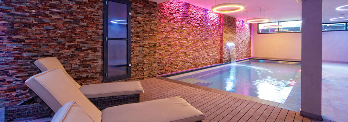 Indoor Pool with Pink Glow